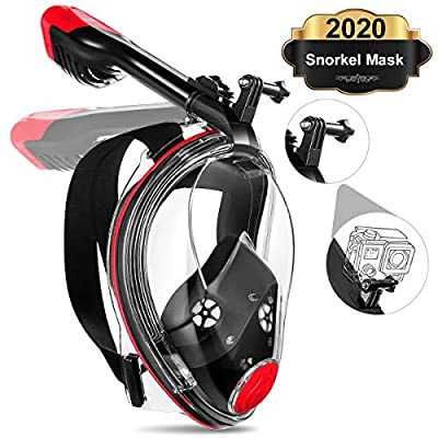 MOVTOTOP Full Face Snorkel Mask, Foldable Snorkeling Mask with Detachable Camera Mount, 180° Panoramic View Diving Mask Dry Top Set Anti-Fog Anti-Leak for Adults and Kids-Red (S/M)