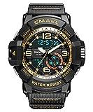Panegy 子供腕時計 ボーイズスポーツウォッチ アウトドア多機能防水 デジタルウォッチ アラート 日付曜日表示 デュアルタイム LED アナログ表示 ブラック
