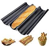 Placa de cocción para 3 varillas, color negro, bandeja de molde de pan en barra francesa, sartenes para baquetas antiadherentes, placa de pan perforada de cocción para baquetas de pan sándwiches