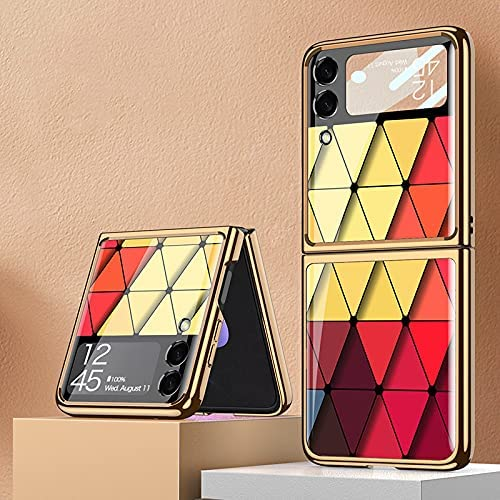 DEMCERT for Samsung Galaxy Z Flip 3 5G Case, Ultra Thin Hard 9H Plating Glass Shockproof Phone Cover for Samsung Galaxy Z Flip 3 5G (Diamond Red)