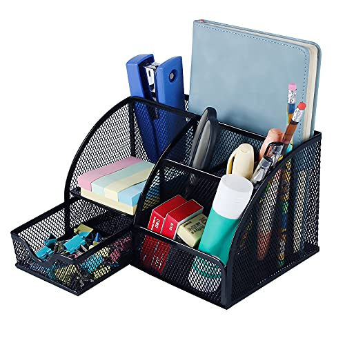 Ciaoed Organizador de escritorio 6 compartimentos con cajón pequeño, escritorio de malla metálica, soporte para bolígrafo ordenado para accesorios de escritorio de oficina en casa