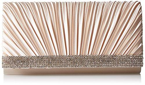 Jessica McClintock Chloe Satin Pleated Rhinestone Evening Clutch with Shoulder Chain, Champagne