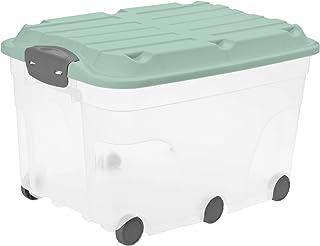 Rotho Roller 6 Boîte de Rangement 57L avec Couvercle et Roulettes, Plastique (PP) sans BPA, Turquoise/Transparent, 57L (5...