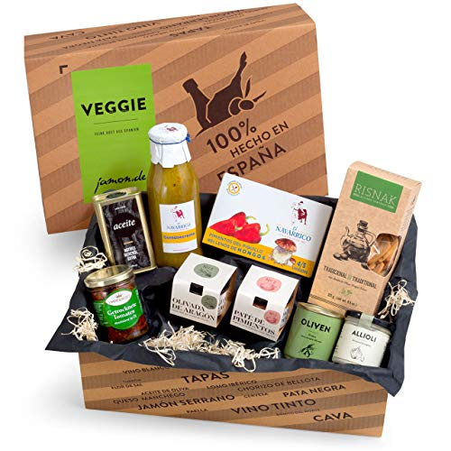 Feinkost-Präsentkorb Veggie-Box Spanien   Ideale Geschenkidee für Freunde der vegetarischen Küche & Vegetarier   Exquisite Auswahl an Tapas-Klassikern geschenkfertig in Geschenk-Box
