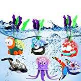 Light-up Diving Pool Toys Set, 6 Pack Summer Swimming Diving Toy Animals, Shining Underwater Swimming Dive Pool Toy Set for Kids Boys Girls Child, Ideal Pool Party Game Toys Gift for 3 4 5 6 Years Old