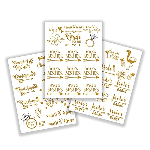 Bachelorettesy Bride to be Temporary Tattoos 50 Gold Metallic Designs Bride's Babes, Diamonds, Cheers for Engagement & Bachelorette Party - Waterproof Nontoxic Lasting