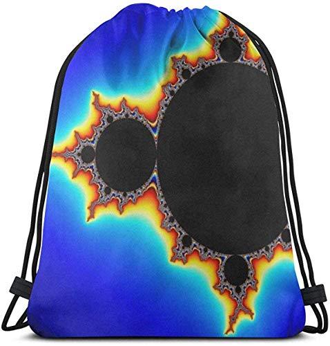 オリジナルマンデルブロ大人のための3Dプリント巾着バックパックリュックサックショルダーバッグジムバッグ16.9 x 14インチ