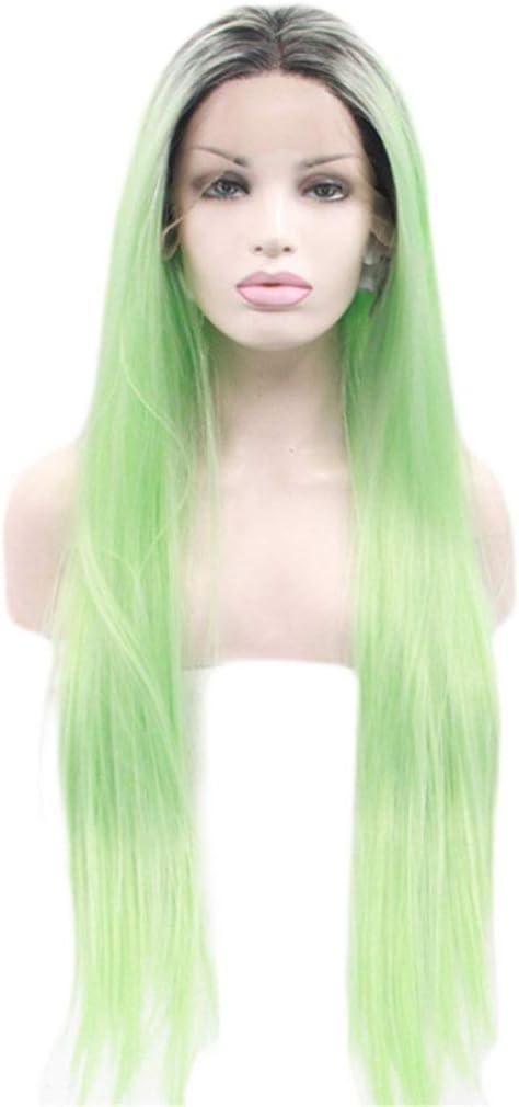 JYA SILK Peluca, Verde Moda Natural Mujer Largo Pelo Lacio ...