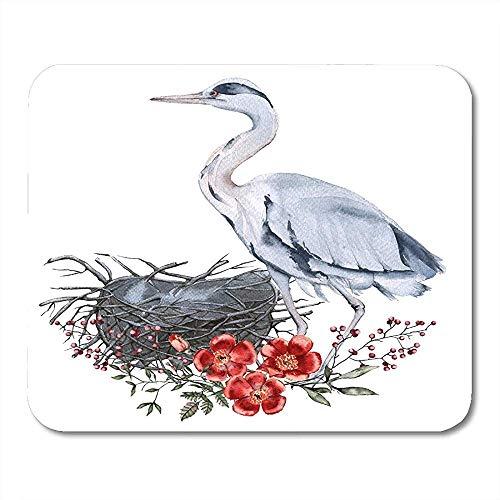 Muiskussentjes Roze Dier Grijs Heron en Nest aquarel Rode snavel Vogel Bloom Blossom Mouse pad 25X30cm