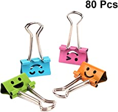 TOYMYTOY 80Pcs Smiling Binder Clips Metal Smiley Face File Paper Clip Clamp Assorted Colors