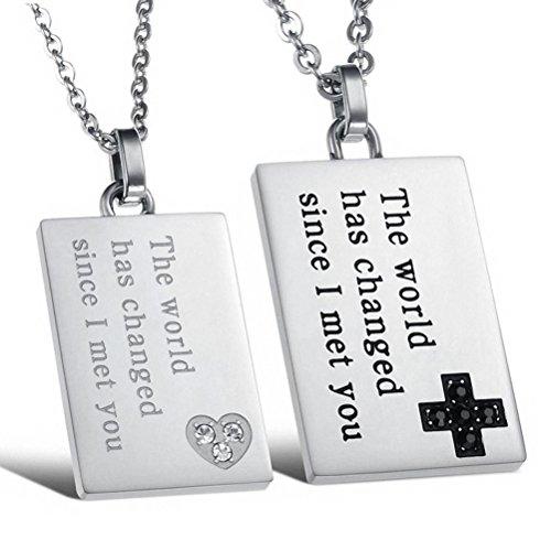 Jewow Schmuck Edelstahl Verliebte Paar Halskette Platz Anhänger mit Gravur Geschenk für Sie und Ihn