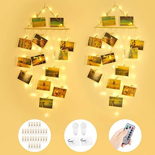 Anpro 58 LED Fotoclip lichterkette mit USB- und AA-Batterien betrieben, 2 X Foto lichterketten mit Haken und Fernbedienung, Dekoration für Schlafzimmer und Wohnzimmer im Bohème-Stil