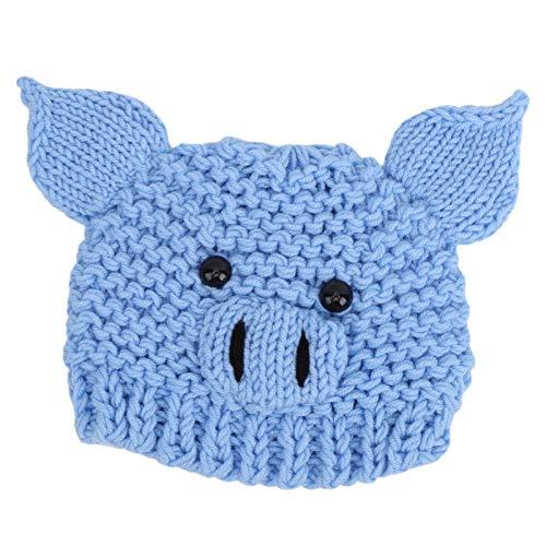 Sombrero de fotografía, gorro de ganchillo para bebé, cómodo y suave al tacto Diseño de patrón animal lindo agradable para la piel y duradero para bebés y niños(blue)