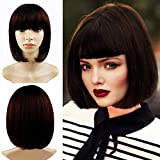 Short Bob Wigs With Straight Bangs 12Inch Short Synthetic Fiber Bob Wigs for Women Short Bob Wigs and Black Color Bob Wig With A Free Wig Cap(Brown)