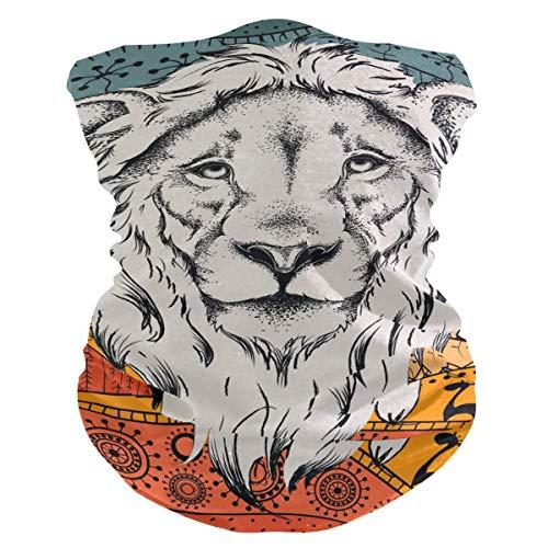 N / A Afrikanischer Ethnischer Löwe,Nahtlose Kopfbedeckung,Männer Frauen Halstücher,Face Scarf Für Staub,Nahtloses Halstuch,Rundschal,Sturmhaube,Halsmanschette