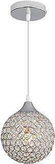 Goeco Lampadario Moderno Nordico E27 lampadario Argento, Lampadario Rotondo con Sfera di Cristallo Soggiorno Camera da Let...