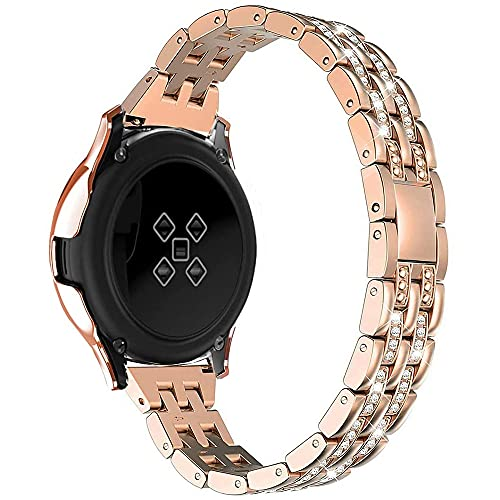 AISPORTS Compatibile per Huawei Watch GT2 Cinturino 42mm,20mm Bling Glitter Diamond Jewelry Cinturino con Fibbia in Metallo Cinturino di Ricambio per Garmin Vivoactive 3/Vivomove HR/Forerunner 245/645