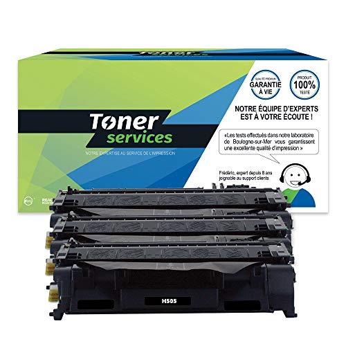 Toner Services CE505A - Lote de 3 cartuchos de tóner para Canon 719, color negro