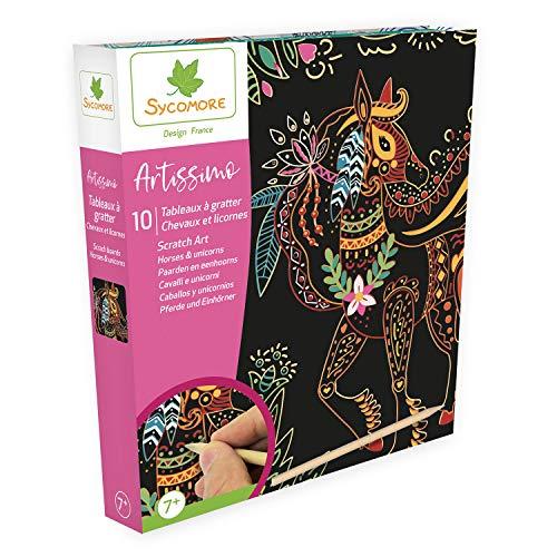 Sycomore CREA014 Artissimo-Sratch Art Design-paard & eenhoorns knutselen voor kinderen vanaf 7 jaar Sycomore-CREA014, meerdere kleuren