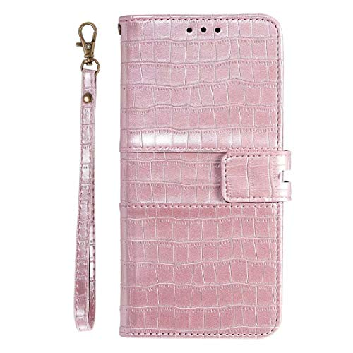 Miagon Crocodile Flip Case for Samsung Galaxy S21 Plus,Retro PU Leather Wallet Cover with Card Slots Magnetic Kickstand Function Bookstyle Bumper,Rose Gold