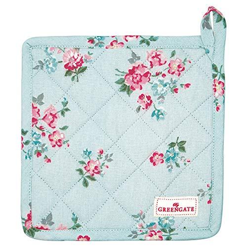 GreenGate Topflappen Sonia Pale Blue Blau 2er Set mit Blumen Baumwolle 20x20 cm