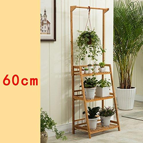 LX étagère à fleurs Nan bamboo quality étagère de pots de balcon Barrière échelle à plusieurs étages Rack de rangement Support de pots intérieur extéri ( forme : B , taille : 60 cm )