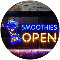 Smoothies Open Shop Dual Color LED看板 ネオンプレート サイン 標識 青色 + 黄色 300 x 210mm st6s32-i0264-by