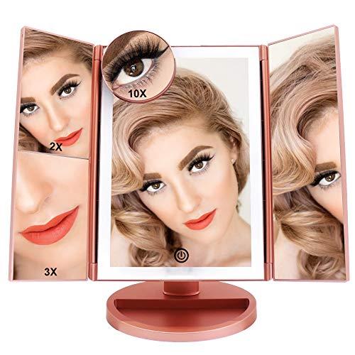FASCINATE Espejo Maquillaje Con Luz,Tríptica Aumentos 10x, 3x, 2x,1x Magnetismo Extraíble Espejo...
