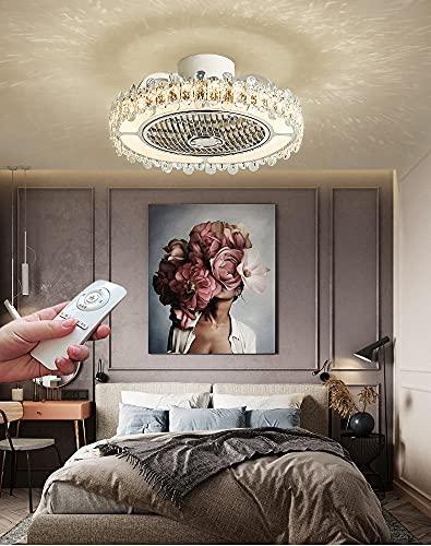 Ventilador de Techo Silencioso con Luz LED Lámpara de Techo Invisible con Control Remoto Moderno Cristal Regulable Lámpara de Ventilador para Dormitorio Salón Luz de Ventilador 3 Velocidades