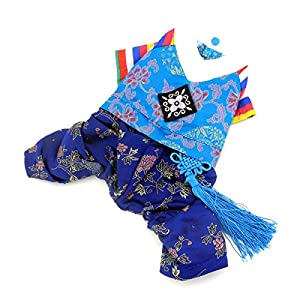 SELMAI Ethnic Dog Costume Korean Traditional Knot Pendant Norigae Hanbok Embroidery Silk Pet Clothes Outfit Color Dress for Small Puppies Large Cat Apparel Birthday Party Festival Celebration Boy S