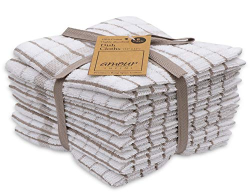 AMOUR INFINI Grid Terry Dish Cloth | Set of 8 | 12 x 12 Inches | Low Lint, Super Soft and Absorbent |100% Cotton Dish Rags | Perfect for Household and Commercial Uses | Beige
