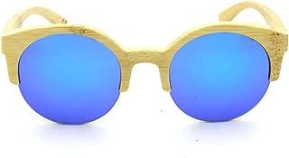 LUKEEXIN Women's Round Half Frame Bamboo Glasses, Fashion Polarized Sunglasses (Color : Blue)