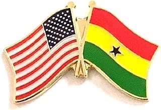 Pack of 3 Ghana & US Crossed Double Flag Lapel Pins, Ghananian & American Friendship Pin Badge