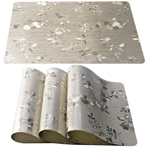 PREMYO Mantel Individual de Silicona Salvamantel Ideal para Mesa del Comedor con Ni/ños F/ácil de Limpiar Lavable Impermeable Forma de Nube Gris