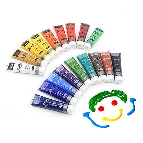 N\C Juego de Pintura acrílica de Tubo de 36 ml de 24 Colores, pigmentos de Dibujo para niños, Ropa, Tela, Pintura, Suministros de Arte adecuados para Principiantes y Artistas