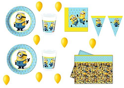 CDC – Kit n° 16 pour fête et fête Moi, moche et méchant (40 assiettes, 40 gobelets, 40 serviettes, 1 nappe, 100 ballons)