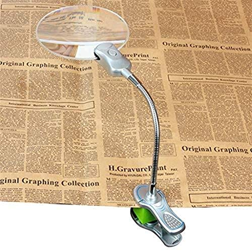 Allamp LED de escritorio de cristal clip Lupa, Hd 2.5x vidrio 10x Lente de zoom de la lente de 130 mm grande de Mayores Los estudiantes Ideal lectura impresiones pequeñas Periódico de Aprendizaje Mapa