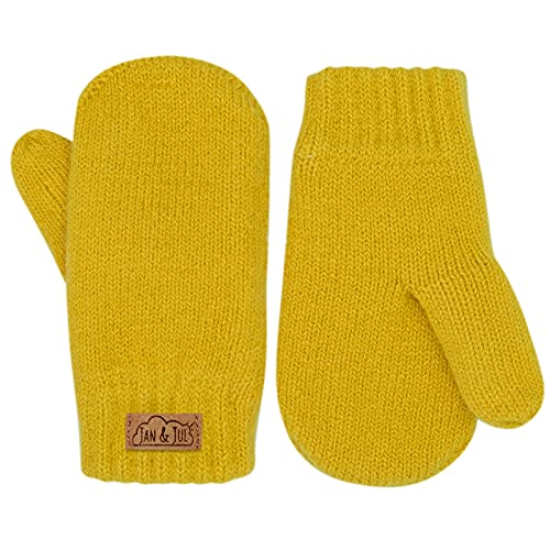 Jan & Jul toddler kids warm fleece lined knit mittens with thumb for fall winter (L: 2-5T, Mustard)