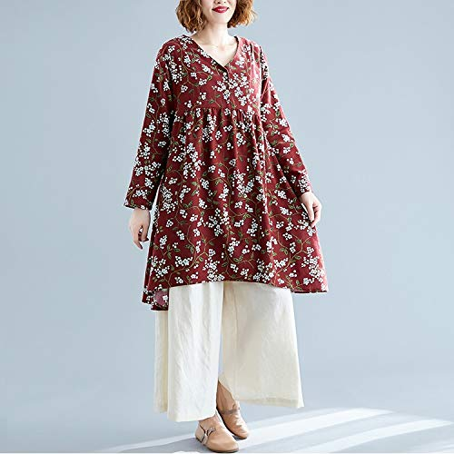 Hanks 'Shop. Kleid Retro Print Plus Größe Baumwolle und Leinen lose V-Ausschnitt Rock (Color : Wine Red, Size : XL)