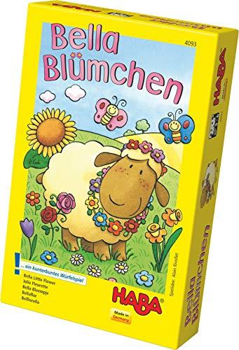 Haba 4093 - Bella bloemetjes bont kubusspel voor 2-4 kinderen van 3-6 jaar, bordspel voor het leren van kleuren en symbolen