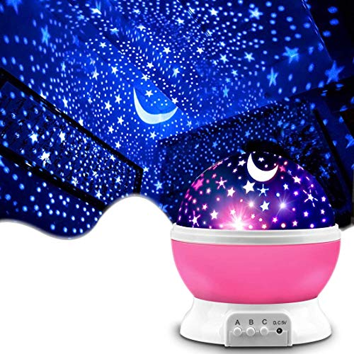 Pink Baby Night Light Moon Star Projector 360 Degree Rotation - 4 LED Bulbs 9 Light Color Changing with USB Cable, Unique Gifts for Men Women Kids Best Baby Gifts