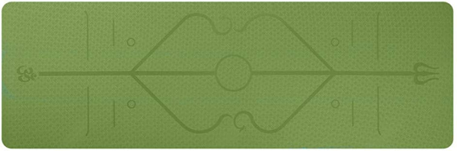 Baibian 183  61  0.6Cm TPE Tapis de Yoga avec Body Line Fitness Tapis antidérapants épais Tapis de Pilates pour débutants Gymnase de Tapis de Prougeection de l'environnement,Vert
