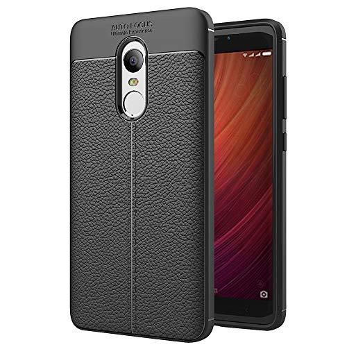 Liluyao Funda telefónica para Xiaomi Xiaomi Redmi Note 4 Litchi Textura TPU Funda Protectora de la contraportada (Color : Black)