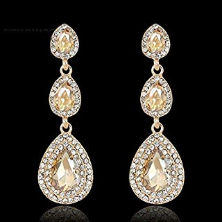 Elegant Females' Wonderful Glass Rhinestone Alloy Dangle Earrings Free Shipping