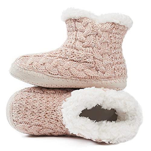 MaaMgic - Mujer Zapatillas Pantuflas Antideslizante de Invierno, como Casa Botas Extra Cálido,Pink,37 39EU