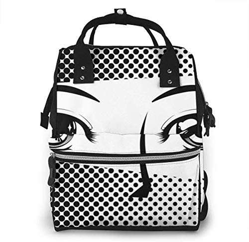 UUwant Sac à Dos à Couches pour Maman Diaper Bag,Versatile Stylish and Durable, Suitable for Mom and DadEyes Drawn in Japanese Comics Style