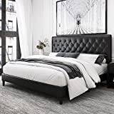 Kealive Faux Leather Upholstered Platform Bed Frame with Adjustable Diamond Button Tufted Headboard, Wooden Slats Support, Mattress Foundation, No Box Spring Needed, Easy Assembly, Queen Size, Black