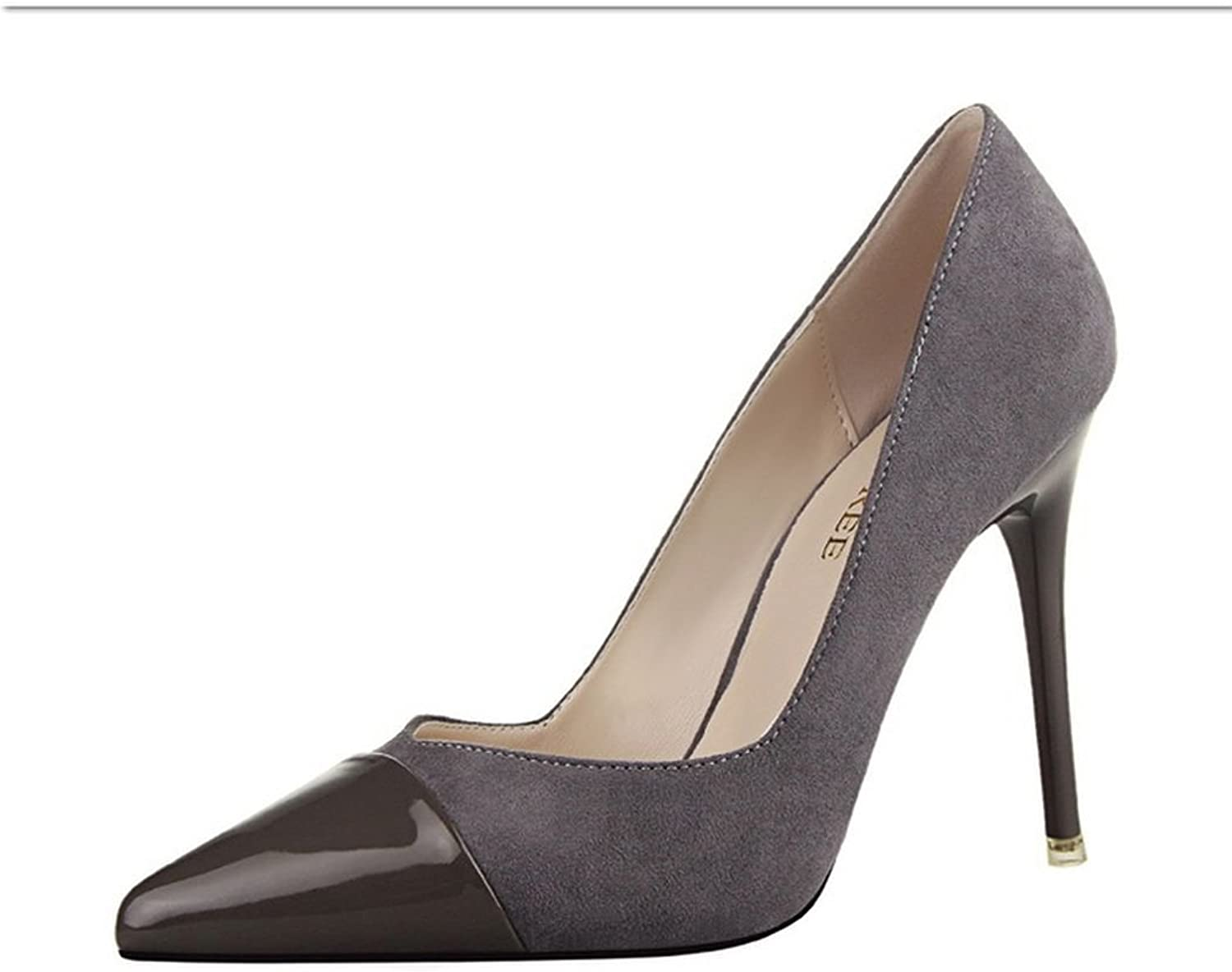 R.Y.S.E Ryse Women's Fashionable Mixed Suede Leather Elegant Temperament High Heels Pointy shoes(39 M EU 8.5 B(M) US, Grey)