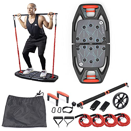 Estleys Portable Home Gym Equipment with Pilates Bar, Wheel Core, Door Anchor, Full Body Workouts to Build Muscle and Burn Fat, Multifunctional Stretch Exercise