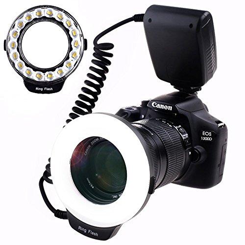 SAMTIAN macro anillo de fotografía flash con 18pcs SMD LED luz 【3 veces el brillo de 48pcs LED anillo flash】 para Canon Nikon Sony Panasonic Olympus como Canon 550D 70D Nikon D3000 D5000 D7000
